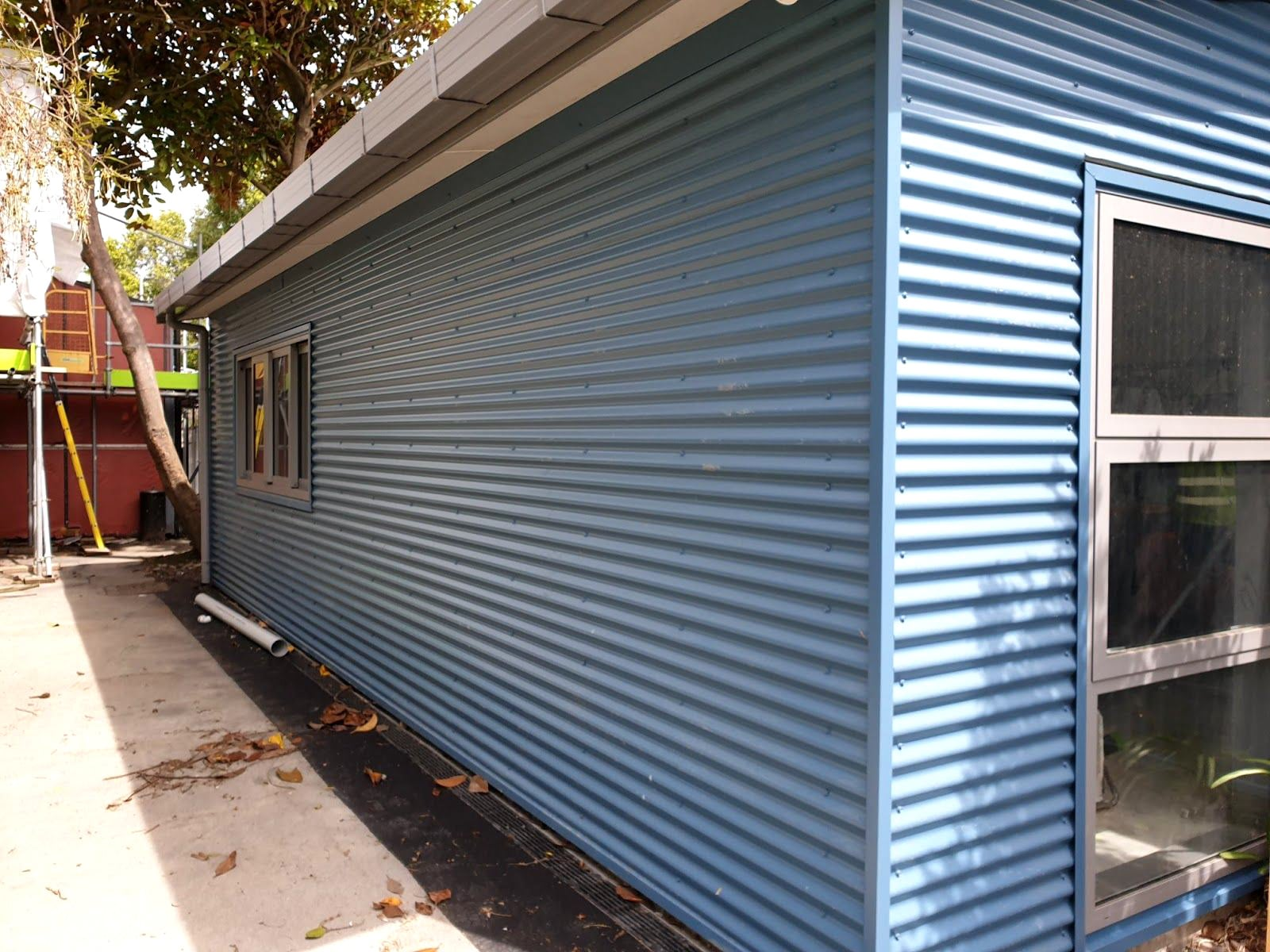 Traditional corrugated iron used as cladding