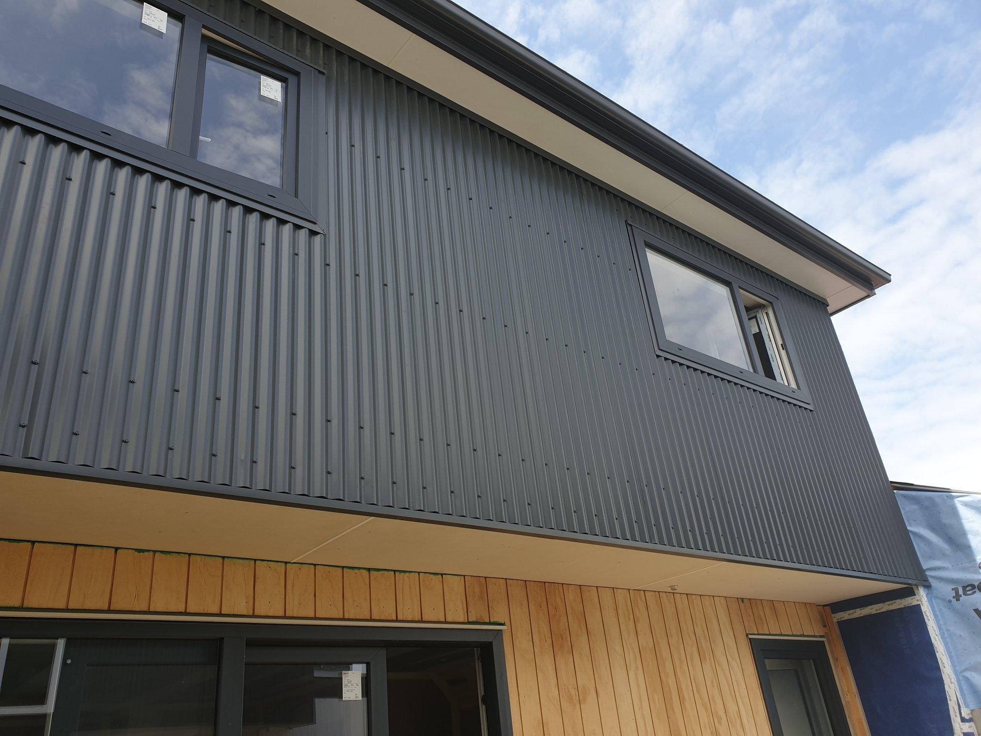 Addington apartments Grey Friars corrugated iron wall cladding